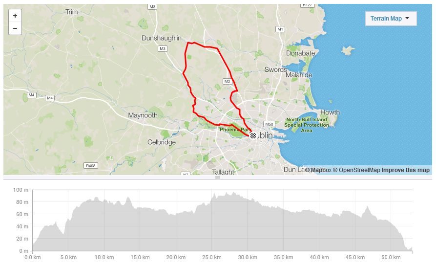 50km Cycle Route Calcutta Run 2019 - Us-bicycle-route-50-map